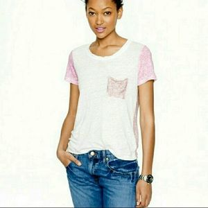 J. Crew Ditzy Mixed Floral Drapey Linen Tee Shirt
